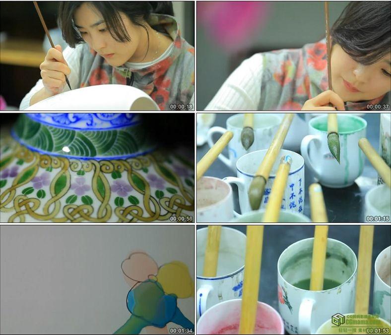 YC0729-瓷器上釉添彩毛笔绘画画画中国传统艺术工艺高清实拍视频素材下载