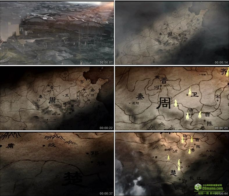 YC0784-残败着火的城池战火古代战争硝烟周朝版图中国高清实拍视频素材下载