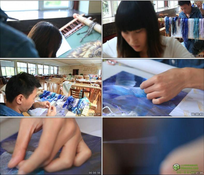 YC0821-刺绣绣工学徒绣花学校中国高清实拍视频素材下载