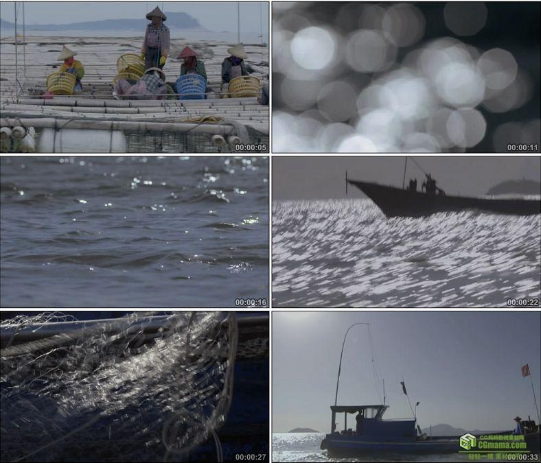 YC0839-海边渔港村的渔民出海渔船出海撒网捕鱼中国高清实拍视频素材下载