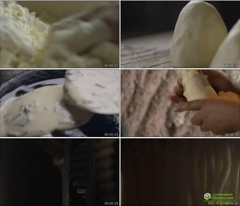 YC0842-和面蒸馍烙饼压面条面食增馒头中国美食高清实拍视频素材下载