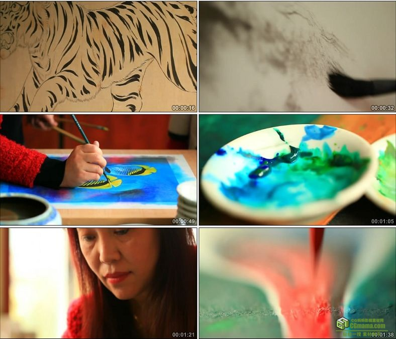 YC0847-绘画国画艺术与彩绘画国画的美女中国传统艺术高清实拍视频素材下载
