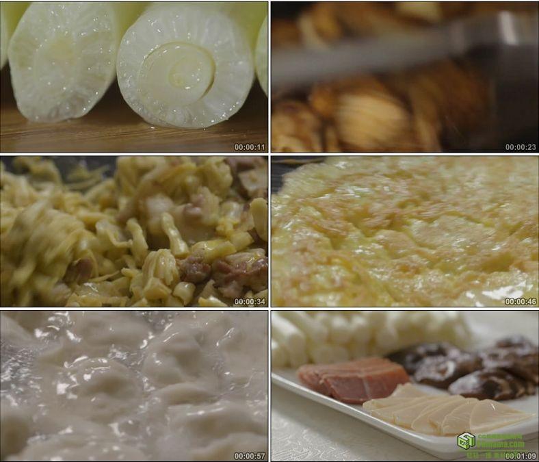 YC0853-茭白蒲菜炒菜做菜包饺子煮饺子调料美食中国高清实拍视频素材下载