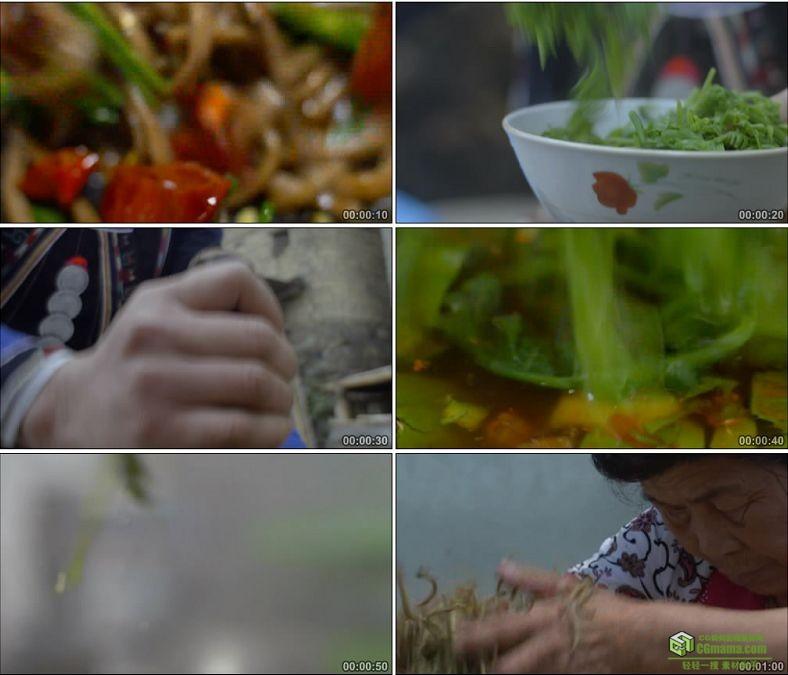 YC0860-野味野生山蕨菜的多种做法捣辣椒中国美食高清实拍视频素材下载