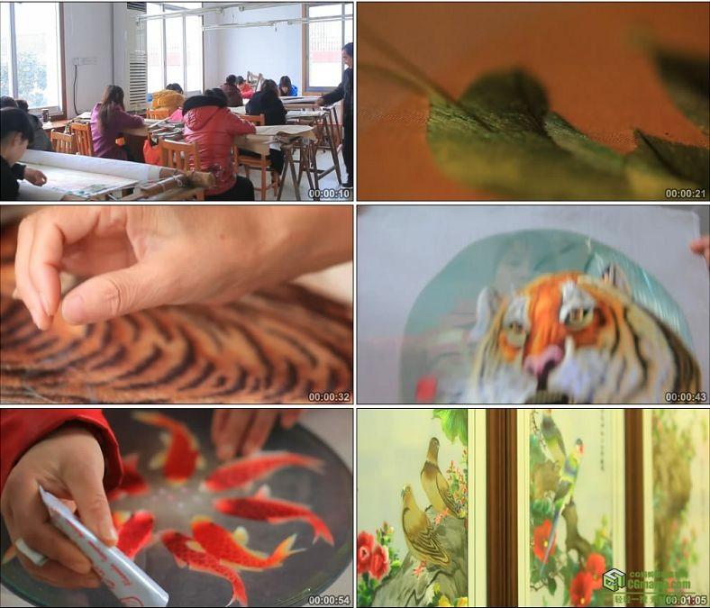YC0861-民间艺人湘绣绣品制作刺绣绣花老师讲课学生中国高清实拍视频素材下载