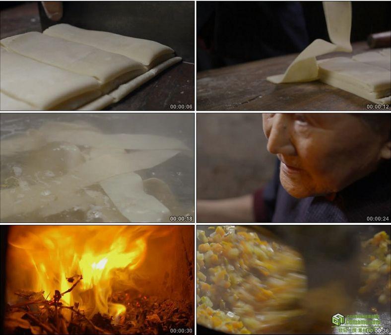 YC0873-手擀宽面裤带面制作老奶奶做饭拉风箱炒菜中国高清实拍视频素材下载