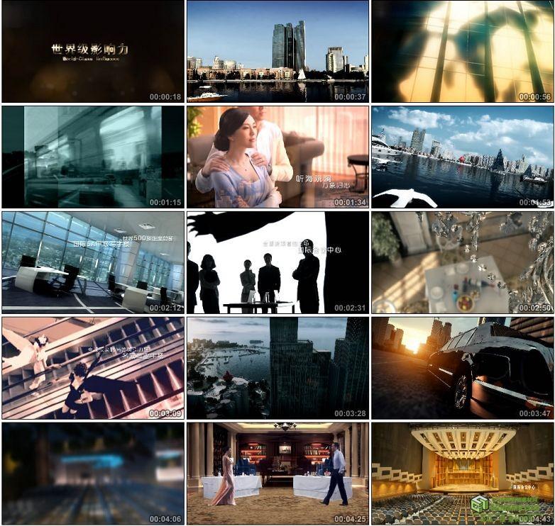 AA0025-三维动画建筑漫游高楼车流海景全高清实拍视频素材宣传片