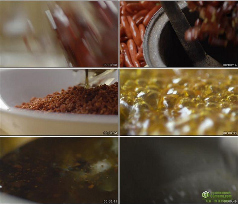 YC0884-香炸辣椒油辣椒面川味调味料高清实拍视频素材