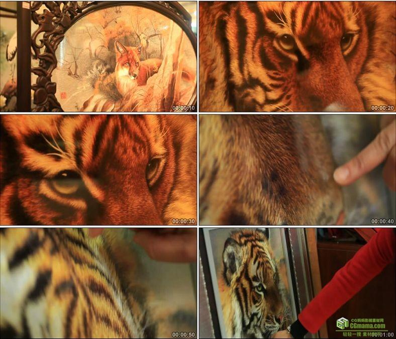 YC0886-湘绣狼狗狐狸老虎动物图案双面绣刺绣艺术工艺文化遗产高清实拍视频素材