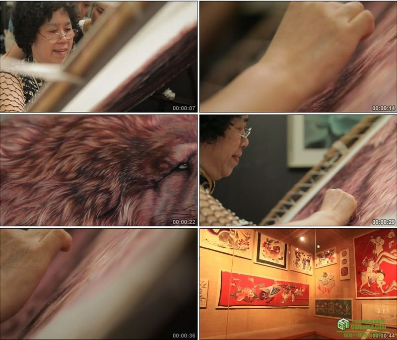 YC0888-湘绣艺术展演绎湘绣技艺民间艺术高清实拍视频素材