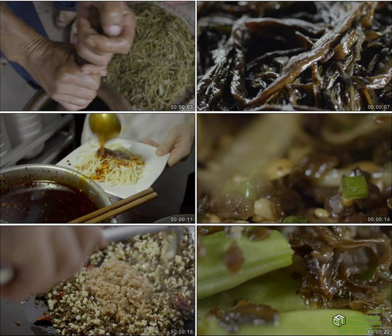 YC0895-腌芥菜炒饭的制作美味美食高清实拍视频素材