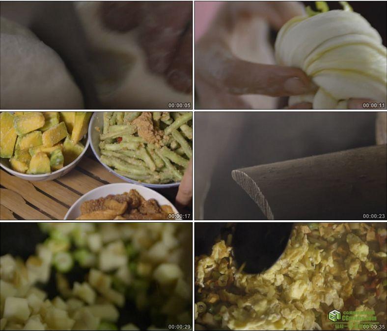 YC0901-蒸花卷蒸菜小炒农家菜家常美食高清实拍视频素材