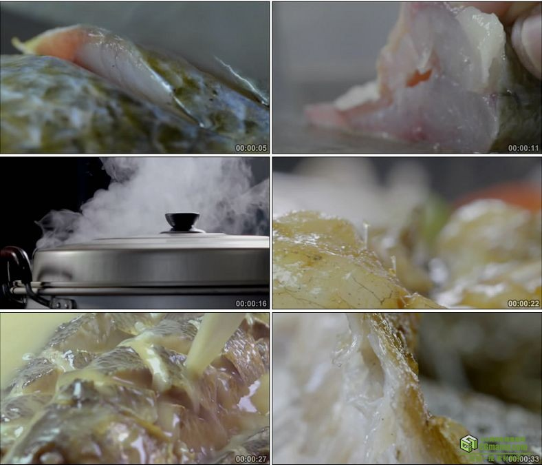 YC0902-切葱红辣椒姜丝片鱼肉制作鲜美的华子鱼美食高清实拍视频素材