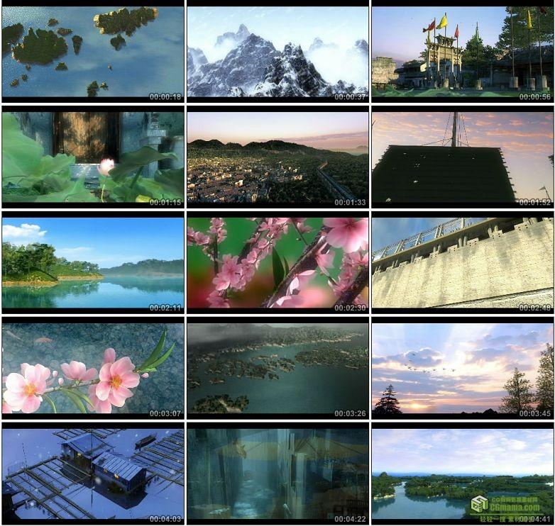 AA0037-千岛湖高清建筑动画漫游视频素材古城大船荷花桃花宣传片