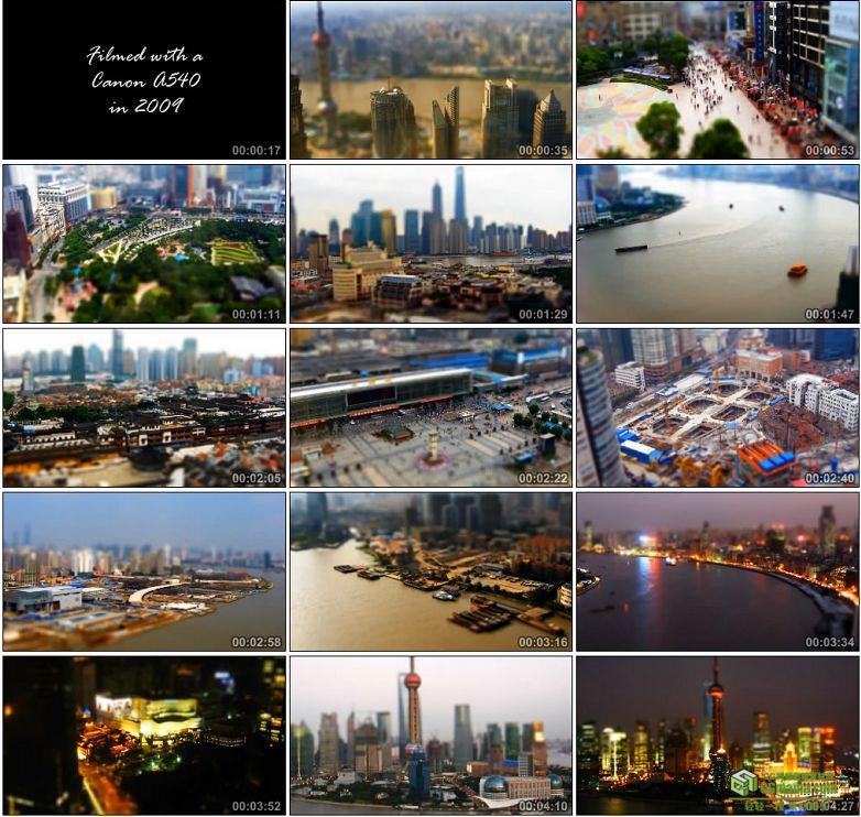 AA0062-移轴摄影-微型上海车流夜景东方明珠高清实拍视频素材宣传片