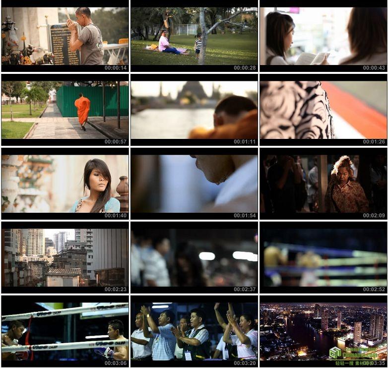 AA0076-泰国曼谷漫步泰拳拳击观众街头生活高清实拍视频素材宣传片下载