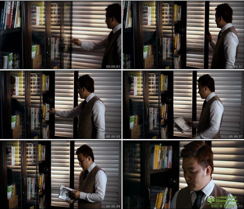 YC0915-男人书橱拿书看书人物高清实拍视频素材