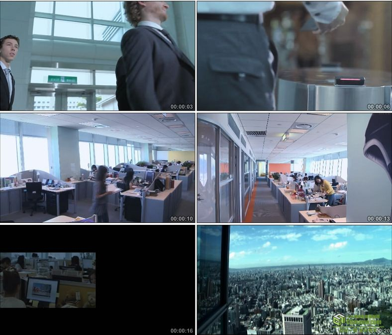 YC0928-公司白领上班打卡工作办公接待客户高清实拍视频素材