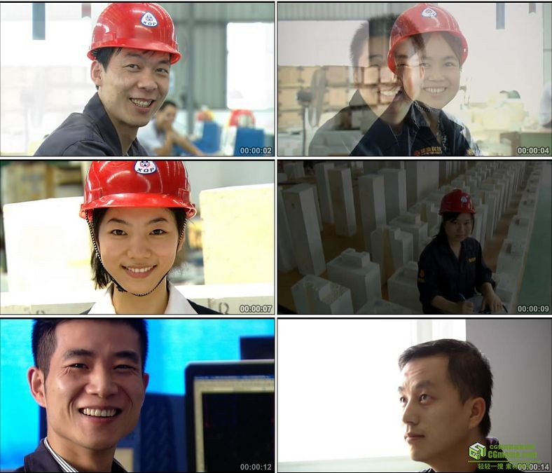 YC0948-工人笑脸一组人物高清实拍视频素材