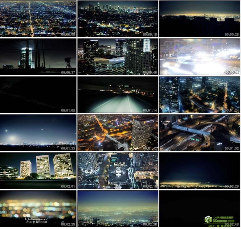 AA0099-洛杉矶夜景高清实拍视频素材宣传片下载夜景交通城市风景