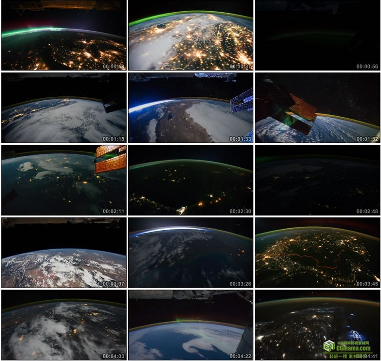 AA0109-从太空看地球__Earth_Seen_From_Space地球上的灯光高清实拍视频素材下载
