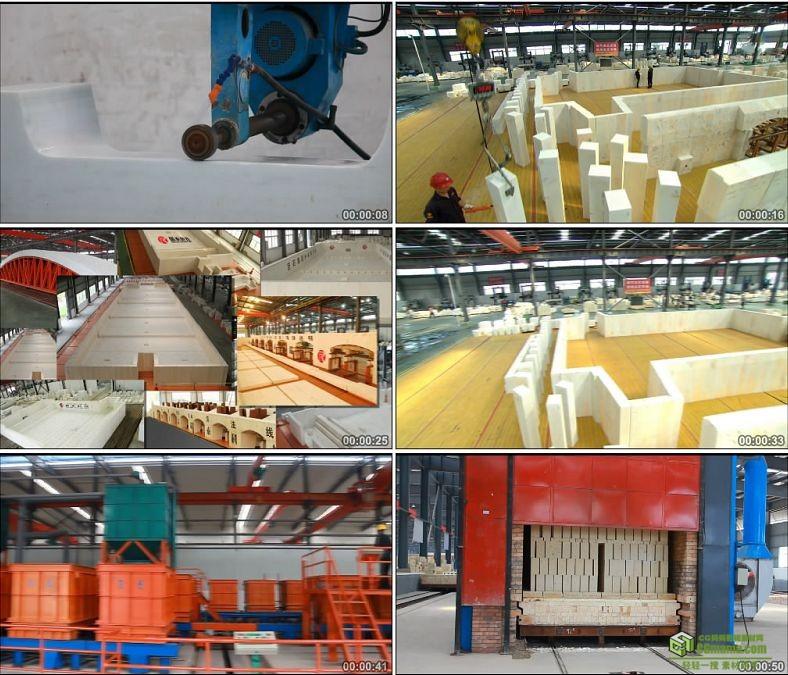 YC0954-生产车间工厂工人劳作工作耐热材料石砖加工生产高清实拍视频素材