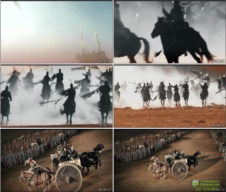 YC1008-中国古代战争打仗战马骑兵剪影千军万马战车两军对阵高清实拍视频素材