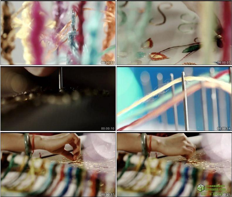 YC1017-中国传统工艺楚绣针法刺绣穿线绣花高清实拍视频素材