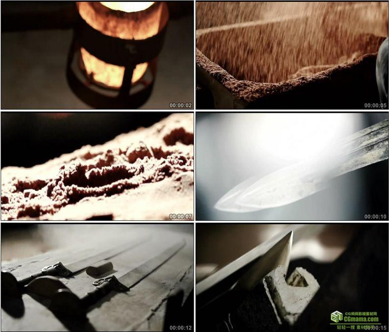 YC1018-中国冶炼技术青铜铸剑磨剑传统技艺高清实拍视频素材