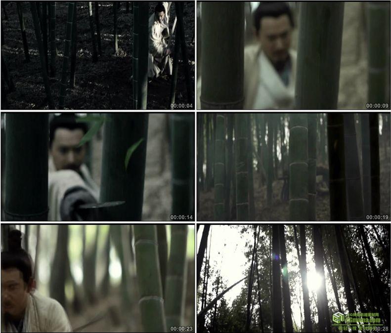 YC1021-中国古人竹林舞剑竹叶落在竹简上文学高清实拍视频素材