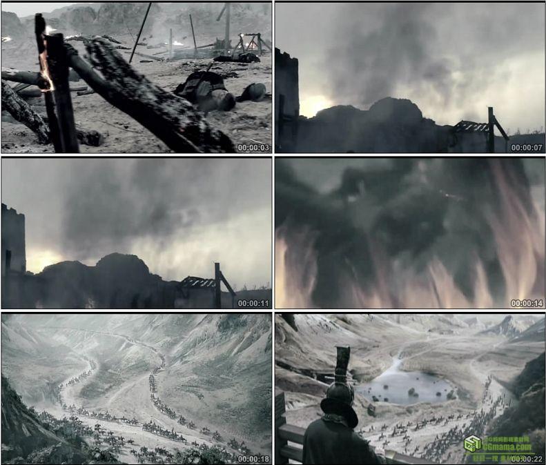 YC1025-中国古代战争横尸遍野兵荒马乱战火出兵行军进军高清实拍视频素材