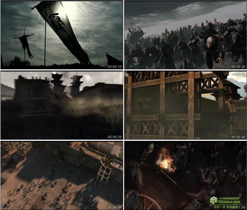 YC1026-中国古代战争秦楚丹阳之战秦军万箭齐发攻城战车高清实拍视频素材