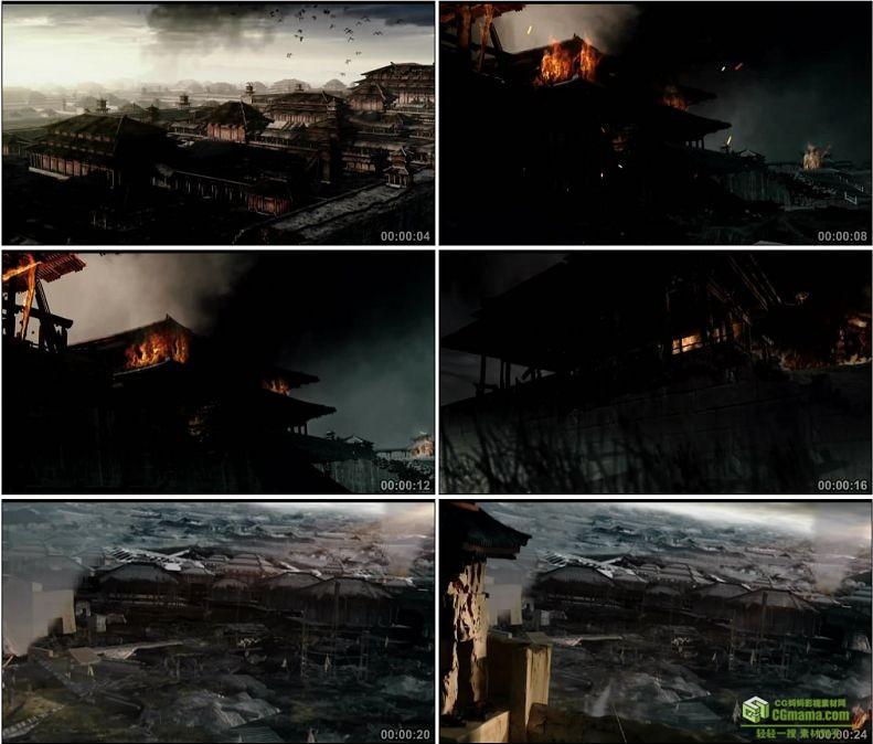 YC1029-中国古代战争战乱战火被焚烧的宫殿高清实拍视频素材