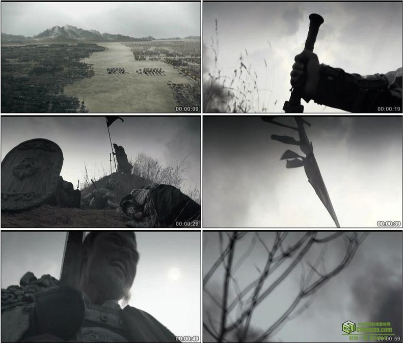 YC1031-中国古代战争两军对垒横尸遍野将军兵败自杀高清实拍视频素材