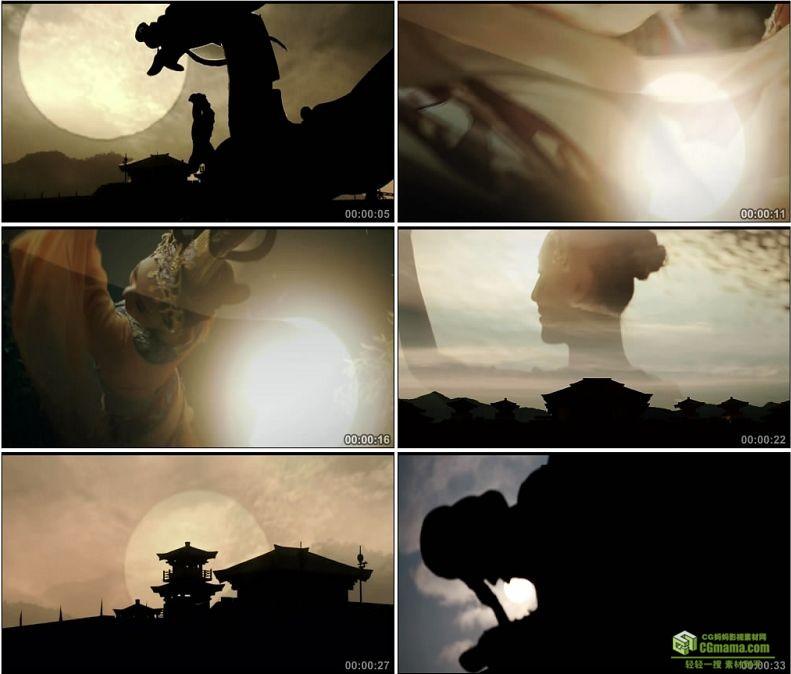 YC1040-中国古代建筑落日剪影逆光歌舞宫殿高清实拍视频素材