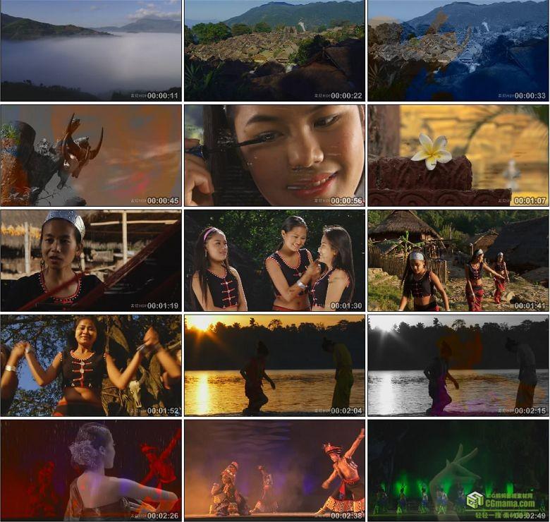 AA0381-云南印象少数民族少女舞蹈泼水节寺庙高清实拍视频素材宣传片