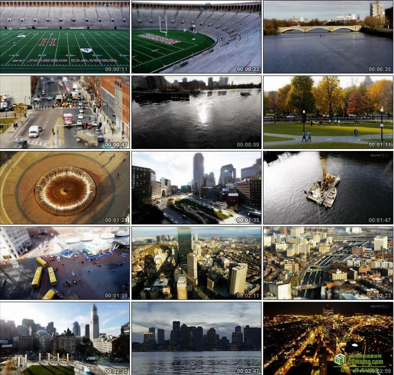AA0095-移轴摄影——美丽的波士顿高清实拍视频素材下载