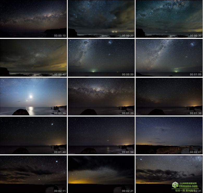 AA0113-海洋夜晚的星空__Ocean_Sky高清实拍视频素材
