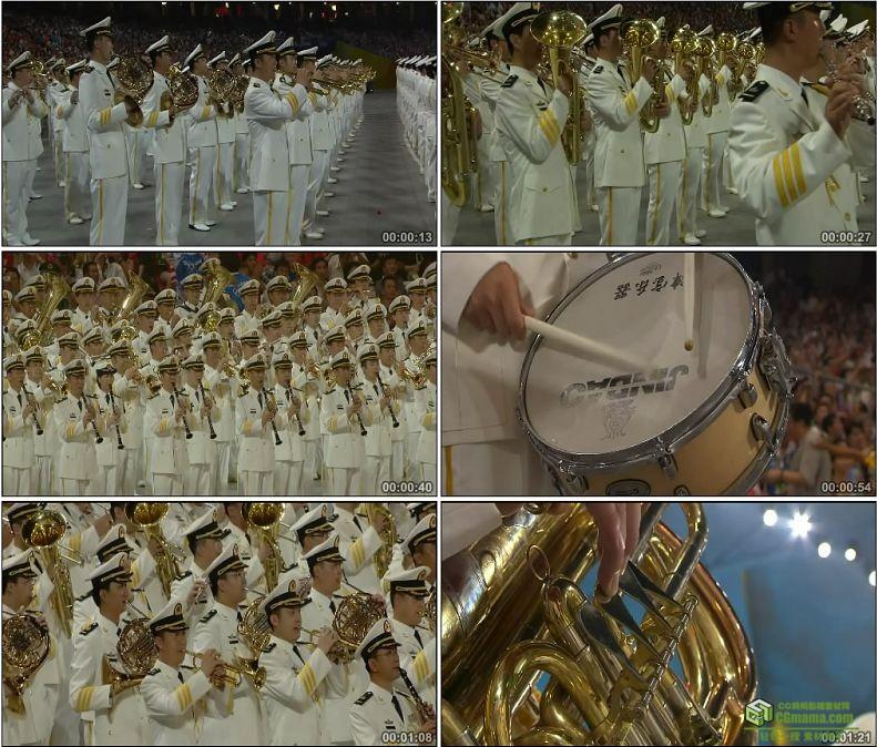 YC1069-解放军交响乐团奥运会演奏乐队萨克斯小号高清实拍视频素材