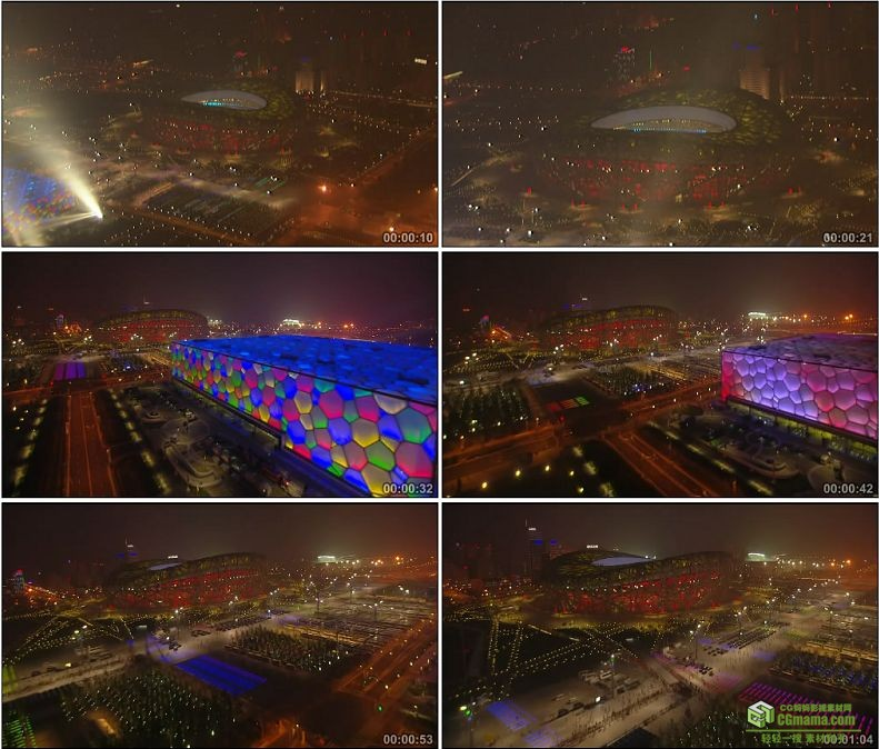 YC1070-北京鸟巢水立方夜景奥运高清实拍视频素材