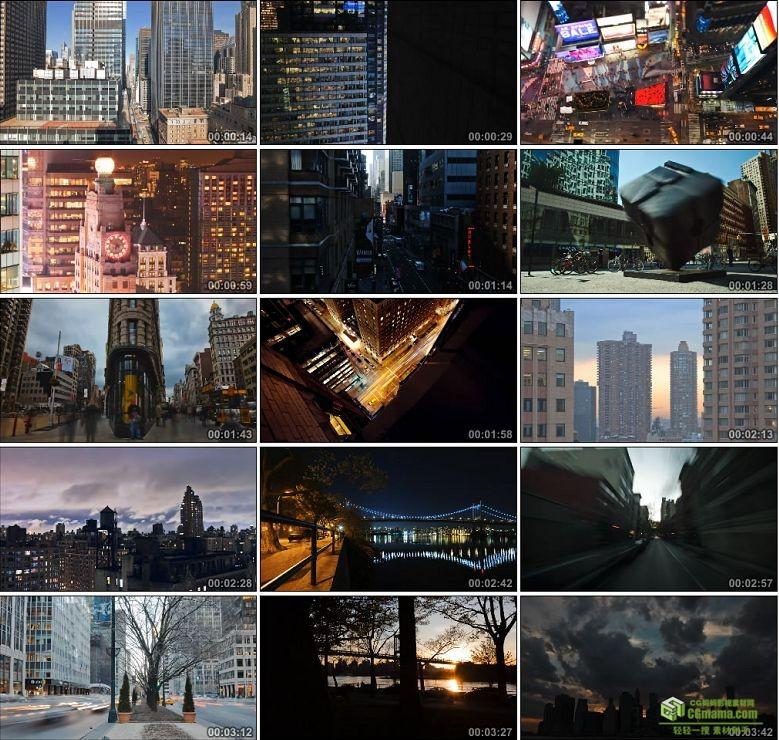 AA0116-美国曼哈顿城市大楼灯光人流车流高清实拍视频素材宣传片