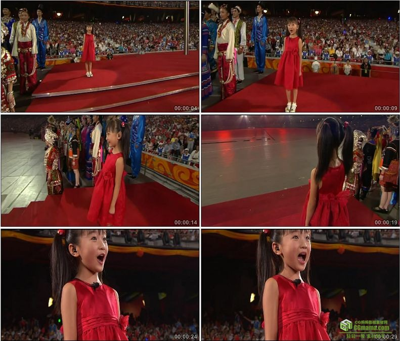 YC1080-中国北京奥运会开幕式林妙可唱歌歌唱祖国舞动国旗高清实拍视频素材