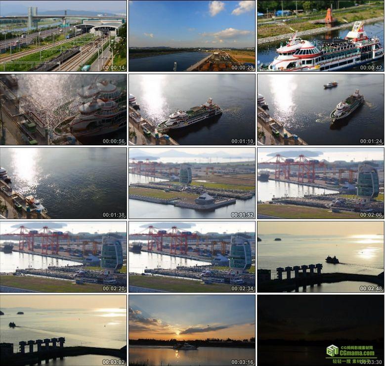 AA0128-韩国首尔 - 仁川黄海水上游轮有人高清实拍视频素材
