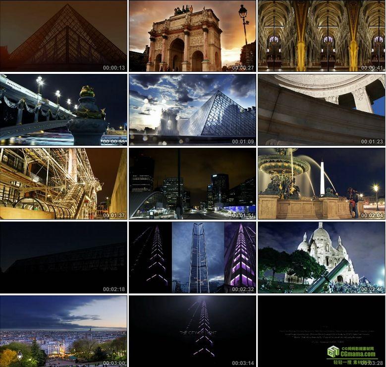 AA0131-巴黎_城市之光埃菲尔铁塔巴黎圣母院凯旋门高清实拍视频素材宣传片