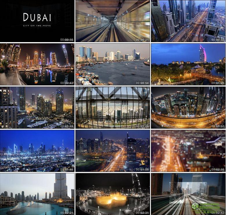 AA0134-迪拜 - 城市的发展车流人流高楼大厦高清实拍视频素材宣传片