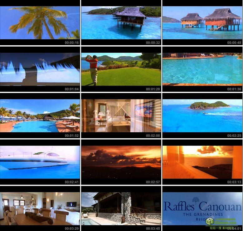 AA0139-海滨度假-格林纳丁斯度假村720P宾馆海洋旅游高清实拍视频素材宣传片