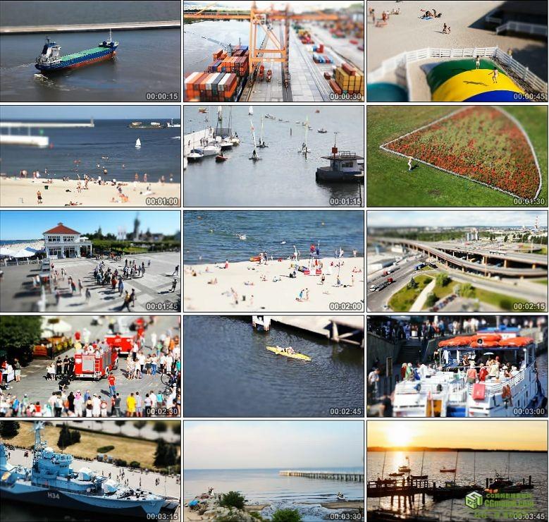 AA0141-集装箱码头人文生活移轴摄影高清实拍视频素材