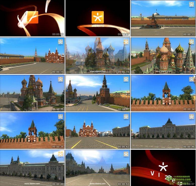 AA0144-克里姆林宫3D虚拟旅游三维建筑漫游动画高清视频素材