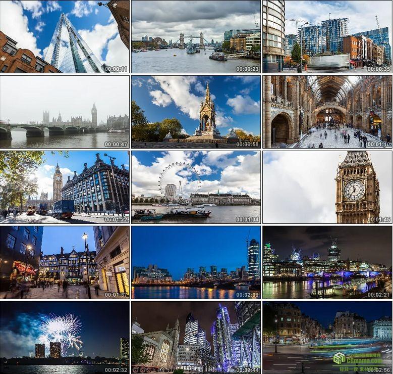 AA0146-英国伦敦时间推移大本钟摩天轮高清实拍视频素材人流车流宣传片