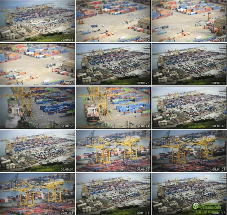 AA0149-迷你港口物流运输高清实拍视频素材延时摄影